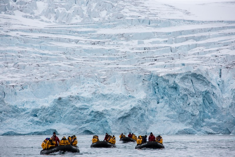 Zodiac cruising glacier, Spitsbergen, Polar bear cruise