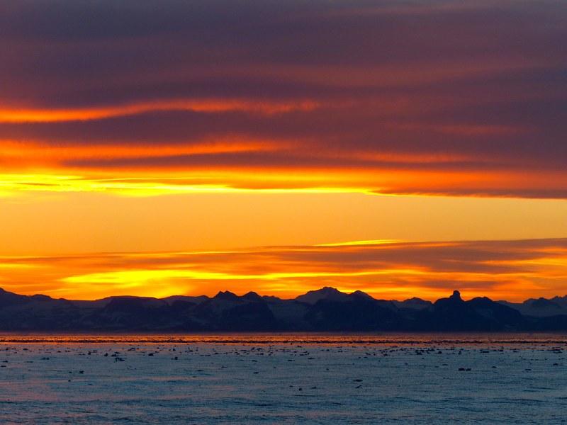 Greenland sunset, Arctic cruise