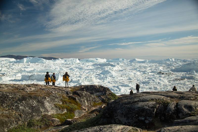 Hike to glacier, Northwest passage cruise