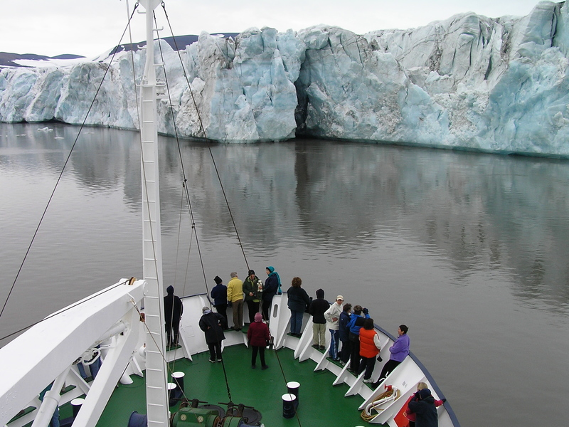 Ship bow and glacier wall, Arctic cruise