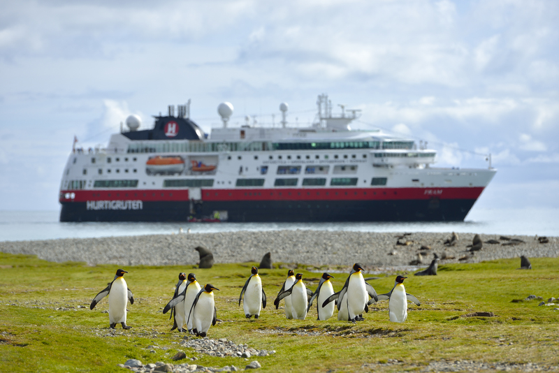 Fram with penguins, Cruise to Antarctica