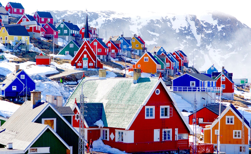 Colourful Greenland village, Arctic cruise