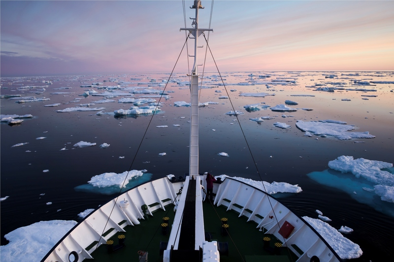 Ships bow in Arctic Sea, Arctic cruise