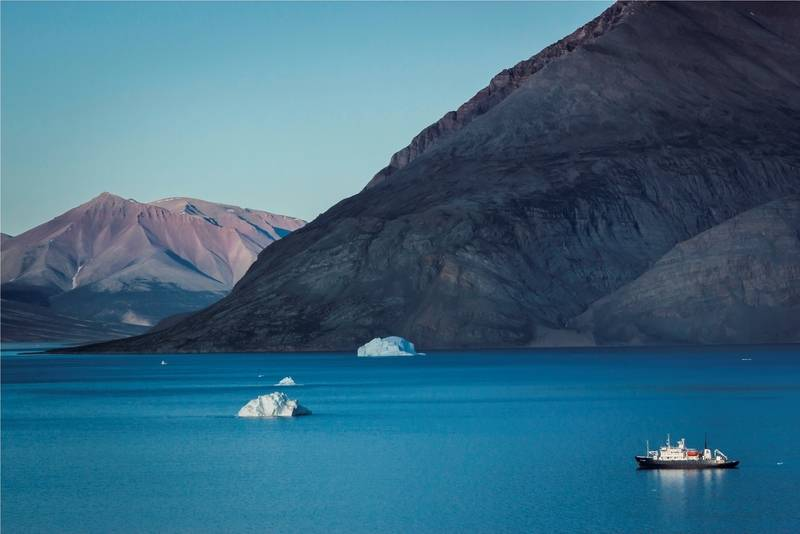 Polar Pioneer in Greenland landscape, Greenland Cruise