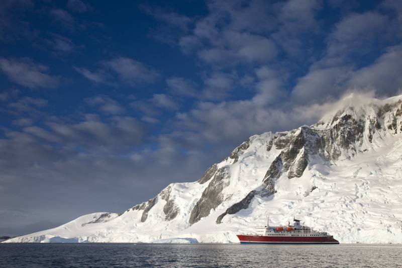 Antarctica Peninsula with cruise ship