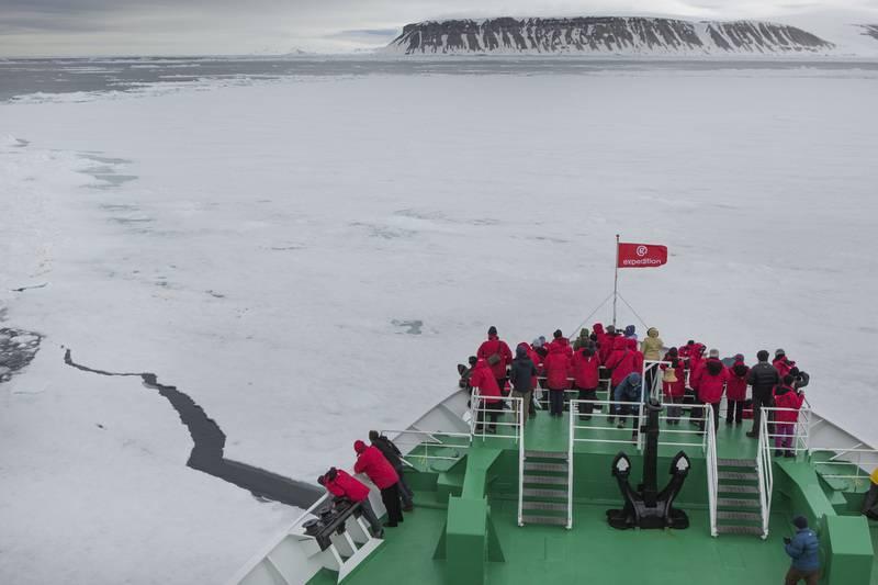 Arctic cruise ship in sea ice, Arctic cruise