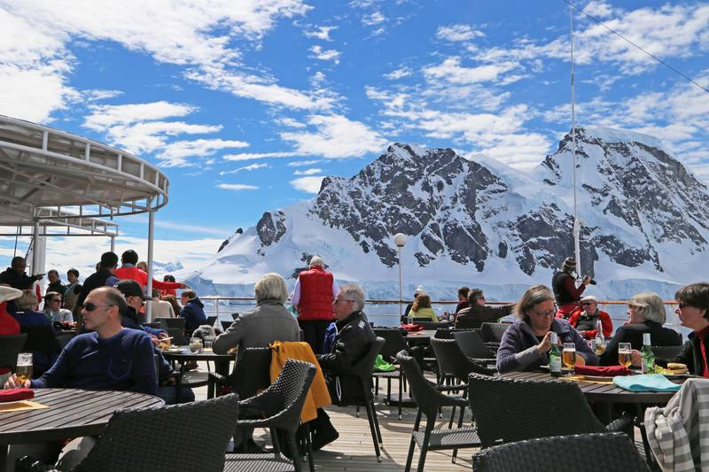 Hebridean Sky Outdoor dinning, Antarctic cruise ship