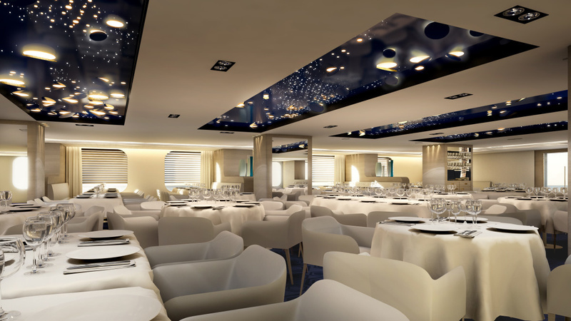 Le Lyrial Dinning room, Antarctic cruise ship