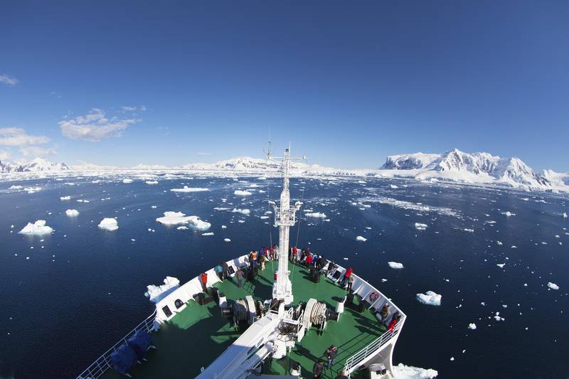 Antarctic cruise ship bow, Cruise to Antarctica
