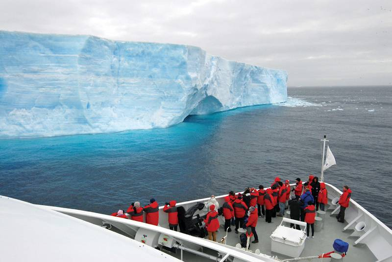 Silver Explorer Ship bow in Antarctica, Antarctic cruise ship
