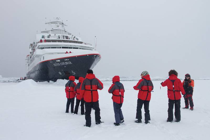 Silver Explorer in ice, Antarctic cruise ship