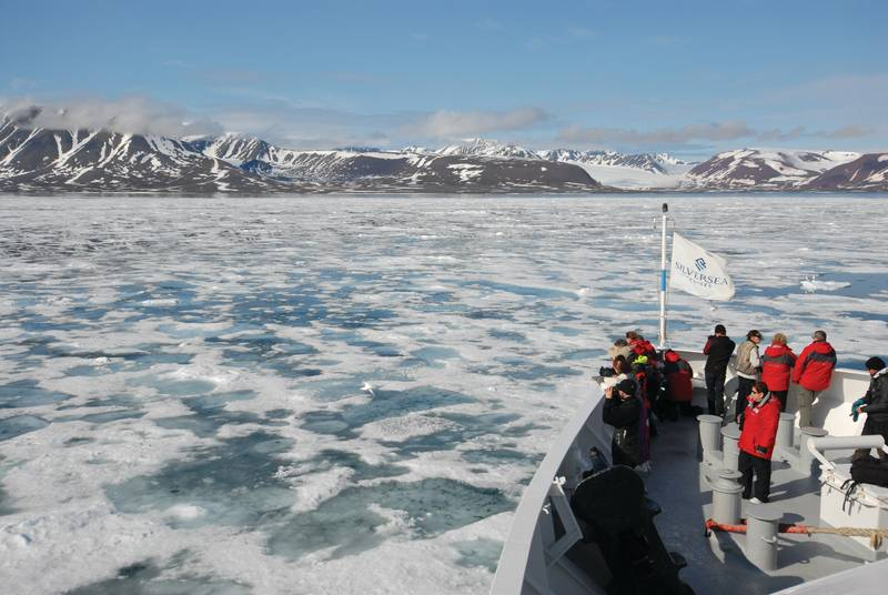 Ship bow and sea ice, Spitsbergen, Arctic Polar bear cruise