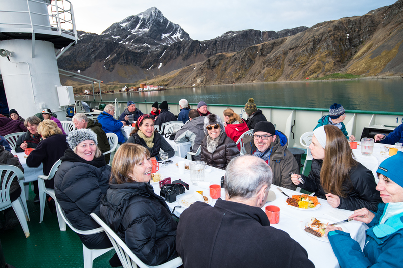 Akademic Ioffe Outdoor dinning, Antarctic cruise ship
