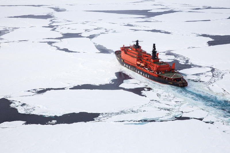 50 Years of Victory ship breaking ice on cruise to North Pole