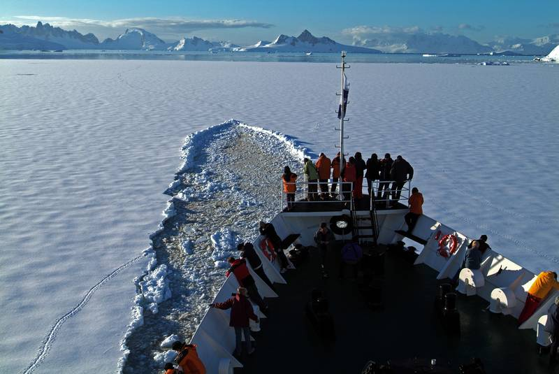 Antarctica ship bow in ice, Antarctic cruise