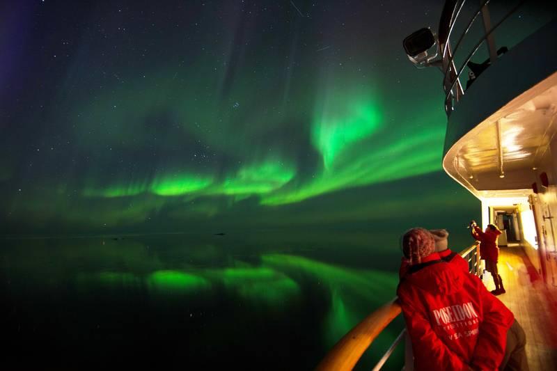 Northern lights Greenland, Arctic cruise