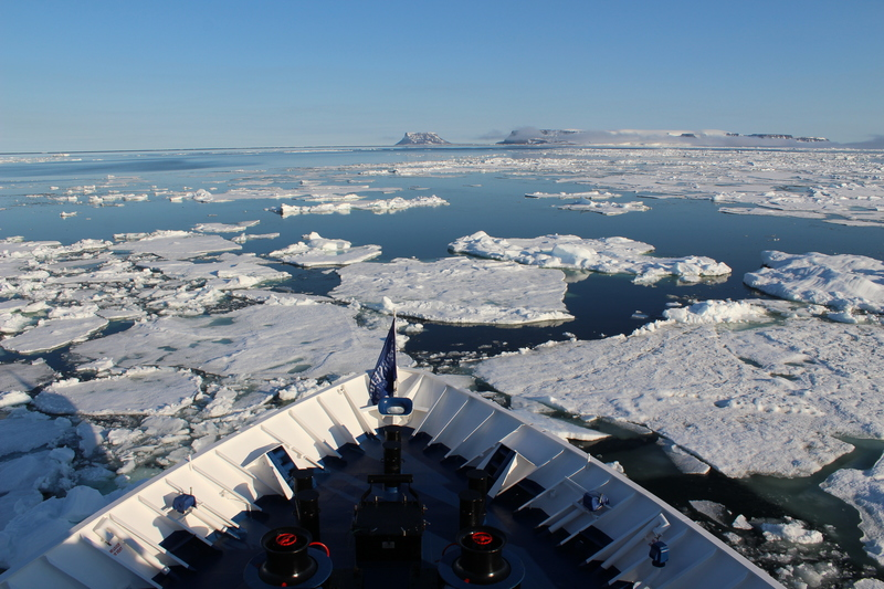 Ship bow in ice, Franz Josef Land cruise