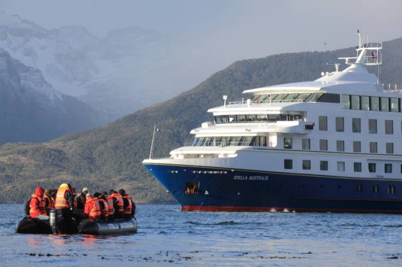 Zodiac cruising back to the Stella Australis in Patagonia.