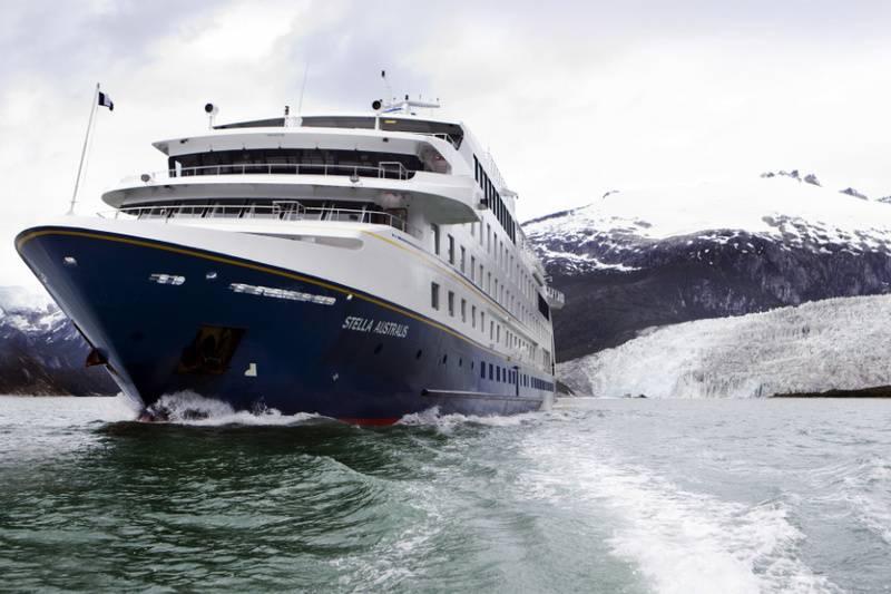 Stella Australis cruising in Patagonia.
