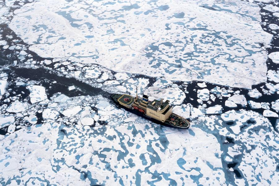 Kapitan Khlebnikov breaking through sea ice.