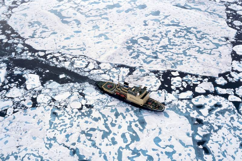 Kapitan Khlebnikov breaking through sea ice.