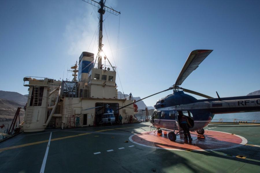The heli deck on board the Kapitan Khlebnikov.
