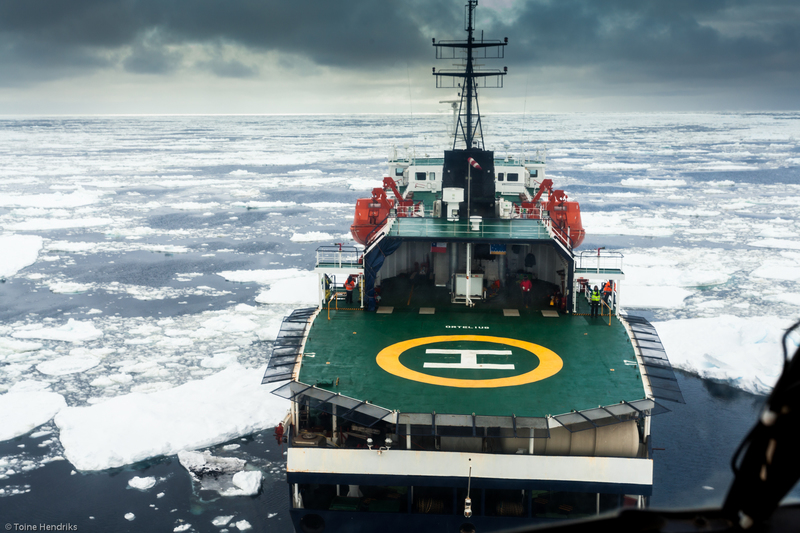 Ortelius with helicopter  ross sea toine hendriks oceanwide expeditions